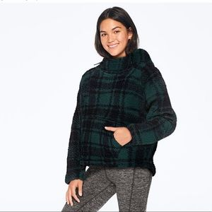 victoria secret green plaid sherpa sweater